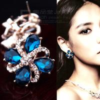 Fashion accessories three-dimensional sparkling four leaf grass big stud earring in ear no pierced