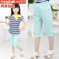 Children's clothing 2013 summer female child 100% cotton capris trousers capris shorts