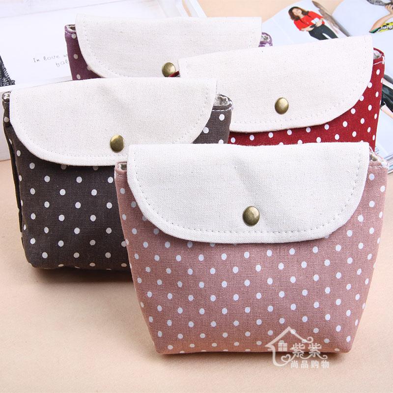 Free Shipping 4 colors Flax Bag Multifunctional Polka Dot Storage Bag Wholesales(China (Mainland))