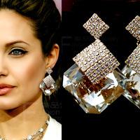 Fashion big star Austrian Crystal Uique Design Stud Earrings FREE SHIPPING!