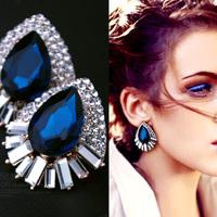 Fashion blue Austrian Crystal Uique Design Stud Earrings FREE SHIPPING!