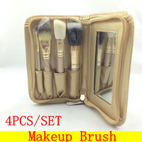 HZS-006] Professional Mini 4Pcs Makeup Brushes Pouch Brush Golden Set + Free shipping