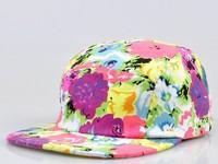 2013 new arrival ladies hat with flowers print flat brim cap b-boy bboy k-pop hat kpop hiphop cap hip-hop cap for women flex fit