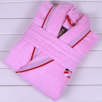 Free Shipping 100% Cotton Terry Child Bathrobes With Embroidery, 2 Colors, Size 12A, Pink