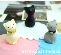 Free Shipping 3pcs Creative cute little kitty fashion personality dust proof Leakproof seal silicone coffee cup / mug lid  cover