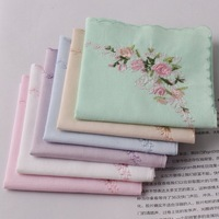 cheap  special super value 6pcs/lots 100%  cotton handkerchief  women soft 6colors women's hanky pocket squares