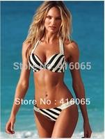 2015 New Arrival Item Swimwear Push Up Padded Bikini Set  Fashion Swimsuit have underwire White with Black Strappy  Beachwear