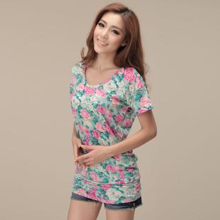 Women's summer female print short-sleeve top short-sleeve T-shirt long design plus size loose