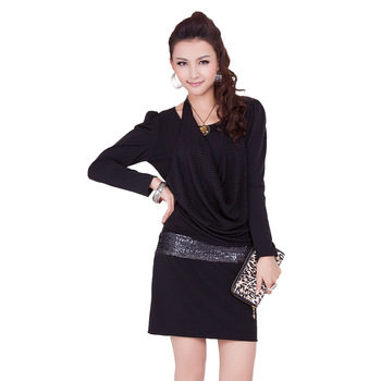 Women's summer slim long-sleeve dress black plus size one-piece dress