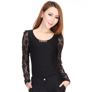 Women's summer plus size basic Women long-sleeve shirt white lace long-sleeve T-shirt Women