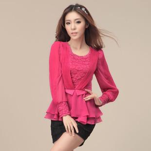 Women's summer loose plus size chiffon shirt mm women's t-shirt long-sleeve