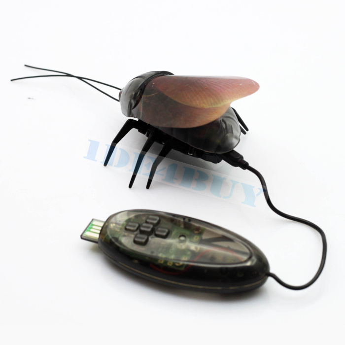 RC Mini Remote Control Fun Beetle Cockroach Insect Toy Robot Infrared Fluorescent 1pc Free Shipping(China (Mainland))