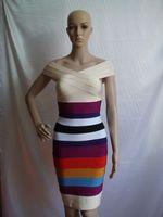 free shipping rainbow short sleeve slim cut lady's party evening dress