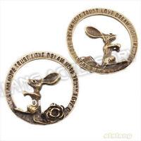 30pcs/lot Hotsale Charms Antique Bronze Alloy Rabbit & Flower design Round shape Jewelry pendants fit DIY making  33x7mm 144608