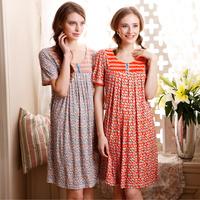 100% Cotton 2015 Summer Night gown Short Sleeve Nightgown Women Dressing Gown Sleepwear Women's Pijamas Woven Pajamas for Women