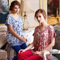 Hot Sale High Quality 2015 Summer New Arrivals 100% Cotton Pajamas for Women Sleepwear Short Sleeve Pyjamas Setclothing Set