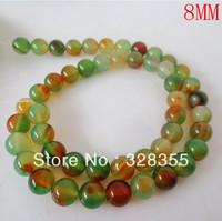 DIY Fashion Jewelry Making Semi Precious Stone 8MM Natural Round Peacock Agate Loose Bead 49pcs Per String Free Shipping