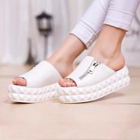 Free shipping, 2013 platform slippers female zipper summer genuine leather casual shoes women's u.s. shoe