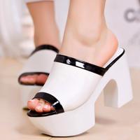 Summer drag sandals genuine leather platform wedges slippers platform open toe high-heeled shoes women's platform slippers