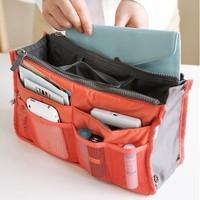 Free Shipping 9 Color Women Dual Zipper Makeup handbags Insert Purse Cosmetic Storage Organizer Bag Travel Totes