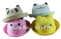 Free shipping hot small wholesale 20pcs/lot animal model korea sun covering baby straw hat small 4colors bear children straw cap