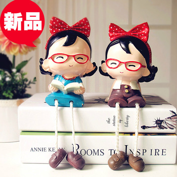 Rustic resin doll home decoration new house wedding gift bow