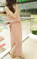 Elegant nude color elegant chiffon jumpsuit full dress female sleeveless one-piece dress formal dress