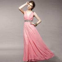 New arrival 2013 women's V-neck slim silk one-piece dress long design full dress slender waist dress