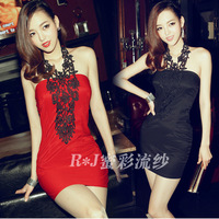 2013 women's spring lace sexy fashion formal dress women's halter-neck slim hip slim one-piece dress