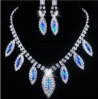 Two colours Rhinestone necklace and earings an extraordinary temperament fashion 2013 new design