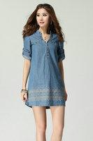 Women Plus Size XL-4XL Vintage Blue Jeans Dress 4xl Free Shipping 904