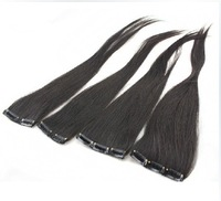 "Free Shipping New 50g 24"" min order 3Pcs 100% Real Human Hair Clip In Extensions #02 Dark Brown,15cm Wide"