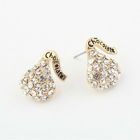 Min Order $10(Can mix order) Latest Chocolate Gourd Drill Stud Earrings Vintage Jewelry Free Shipping E1053