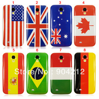 Wholesale 100 pcs lot Mixed national flag glossy hard plastic back cover Case for Samsung Galaxy S4 S IV I9500,dhl Free Shipping