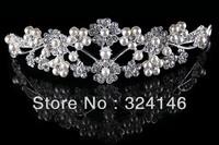 2013 New Arrival Factory price top Pearl flower bridal tiara wholesale wedding crown jewelry