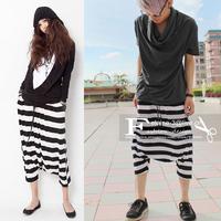New Unisex Loose Rick Baggy Pants Men's Women's  Hippie Hop Harem Ninth Pants Black And White Stripe Plus Size Dance