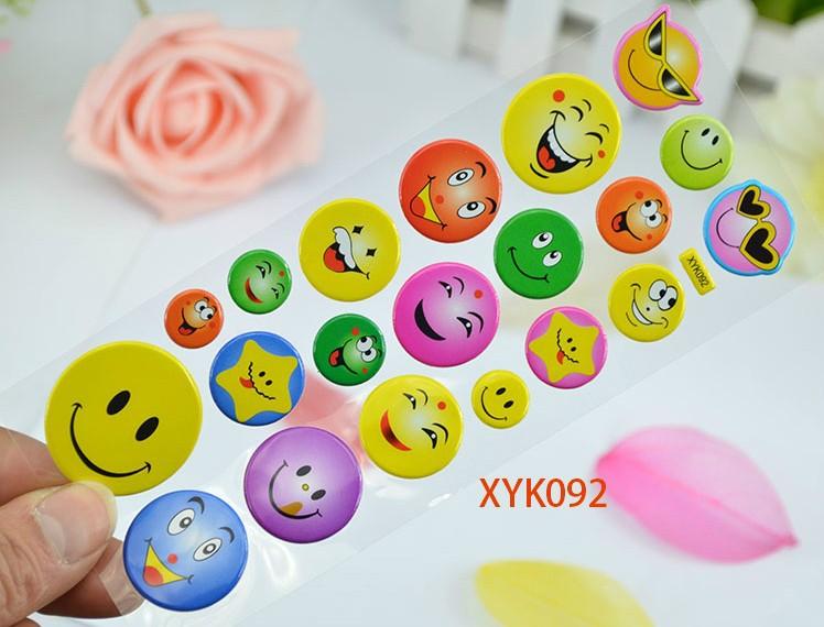 Smile Face Love Heart Shape DIY Handmade 3D Self-adhesive PVC Puffy Sticker Sponge Sticker for Children 10 Designs Wholesale(China (Mainland))