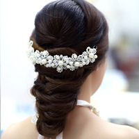 Pretty white pearl red gentlewomen handmade crystal the bride accessories stubbiness married hair accessory wedding dress