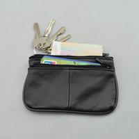 100% Large sheepskin short design wallet genuine leather key card holder coin purse