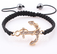 Wholesale 2013 New Fashion Crystal Shamballa Anchor Bracelet Handmade Rhinestone Bracelet Bangle Birthday Gift ZB019