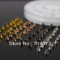 1 Wheel Mix 4 Colors Black Champagne Silver Gold Metal 3X4MM Alloy Punk Rock Spike Studs Rivet Nailheads Nail Art Decorations