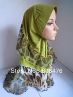 mu1309 new style three layers muslim hijab ITY and chiffon fabric new design islamic hijab free shipping by ems or fedex