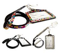 2013 fashion crystal bling rhinestone lanyard with id badge holder