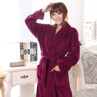 free shipping Winter thickening long-sleeve coral fleece sleepwear robe female long design flannel bathrobe autumn and winter