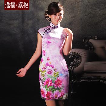Flowers lilac silk cheongsam summer cheongsam design short cheongsam young girl senior