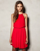 Crazy Promotion Summer Dress 2013 Women Brand Cotton-polyester Spaghetti Strap Collared Bandage Red Maxi Dresses Za** Blue