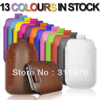 DHL free shipping phone accessory 1100pcs/lot colorful good quality PU PULL TAB LEATHER POUCH CASE cover FOR IPHONE 5(China (Mainland))