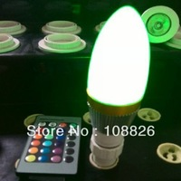 RGB LED candle light 3W ,Remote control distance more than 8 meters, a remote controlled multi-lamp
