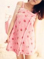 Strawberry cherry a chip short design sleepwear at home service circleof spaghetti strap bath skirt bathrobes sleepwear girls