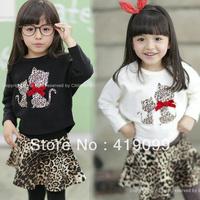 Wholesale!newest 2013 autumn baby girls beautiful clothing sets kids garments long sleeve leopard print 2pcs/set(hoodied+skirt)